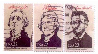 3枚美国总统邮票